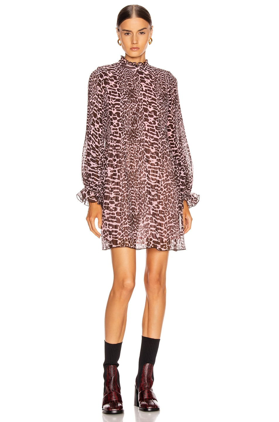 Image 2 of Ganni Pleated Georgette Dress in Candy Pink and Dark Brown Leopard