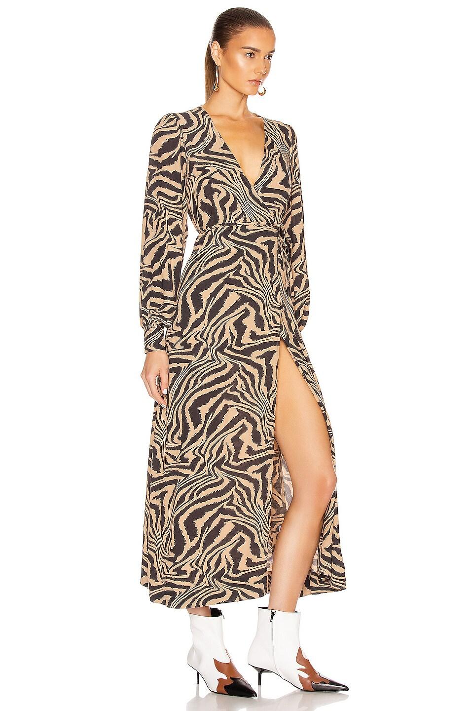 Image 2 of Ganni Printed Crepe Dress in Tannin