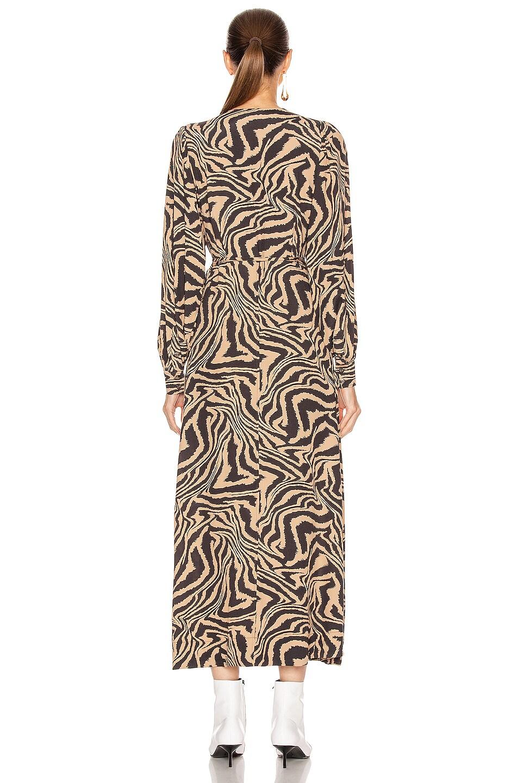 Image 3 of Ganni Printed Crepe Dress in Tannin