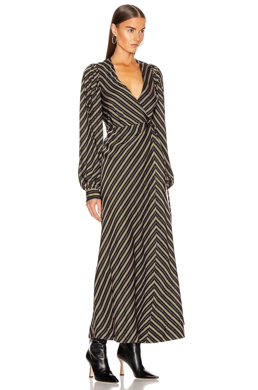 Image 2 of Ganni Viscose Stripe Dress in Black