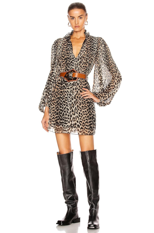 Image 1 of Ganni Pleated Georgette Dress in Leopard