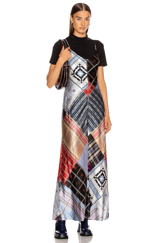 Image 1 of Ganni Silk Stretch Satin Dress in Forever Blue