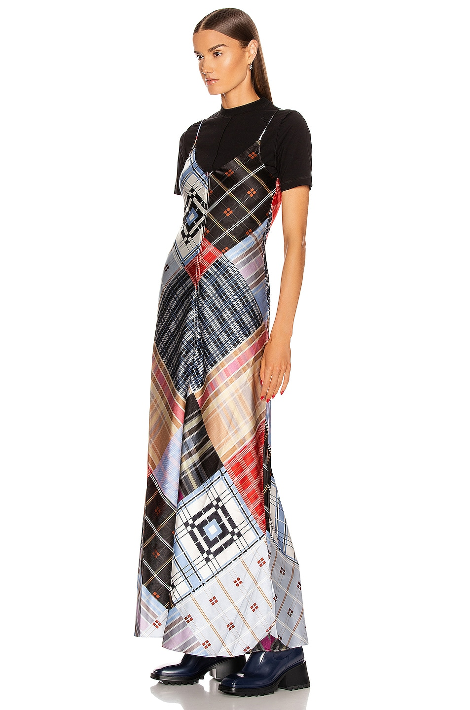 Image 4 of Ganni Silk Stretch Satin Dress in Forever Blue