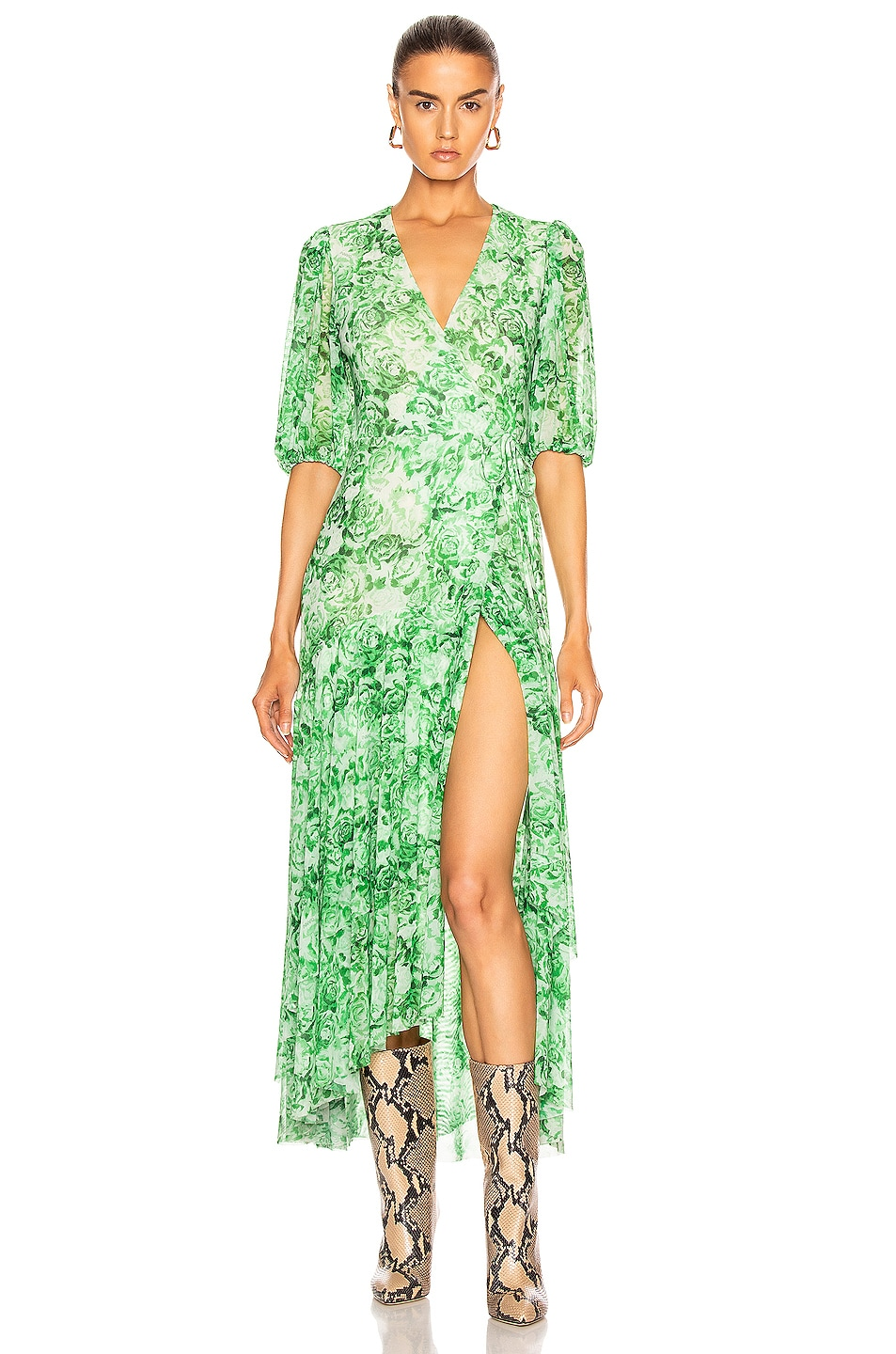 Image 1 of Ganni Printed Mesh Dress in Island Green
