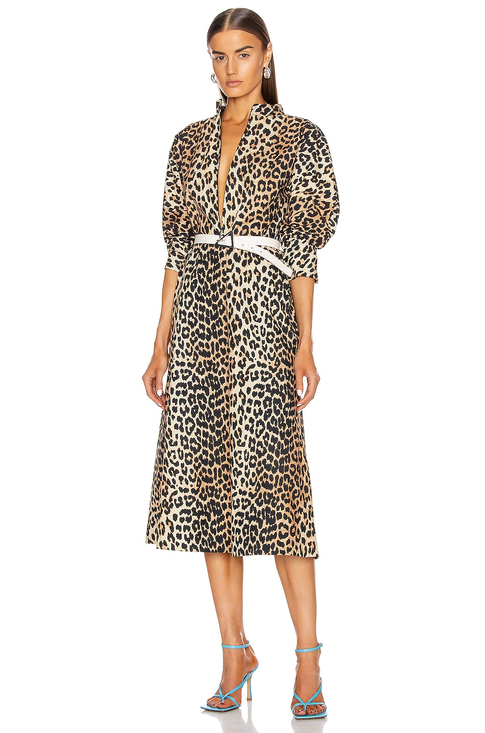 Image 1 of Ganni Printed Cotton Poplin Dress in Leopard