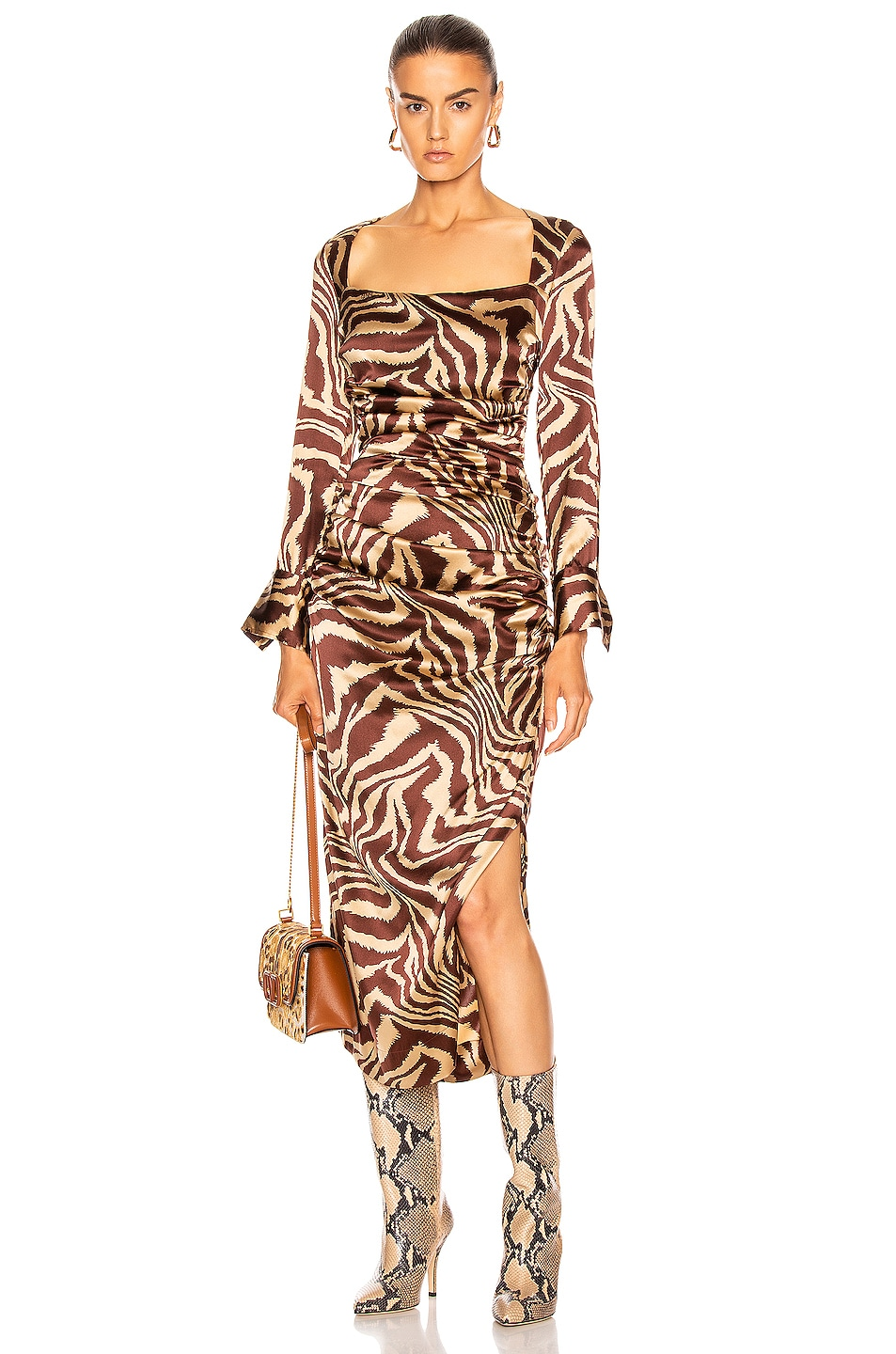 Image 1 of Ganni Silk Stretch Satin Dress in Tannin