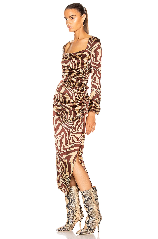 Image 3 of Ganni Silk Stretch Satin Dress in Tannin