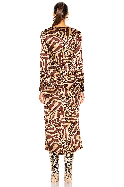 Image 4 of Ganni Silk Stretch Satin Dress in Tannin