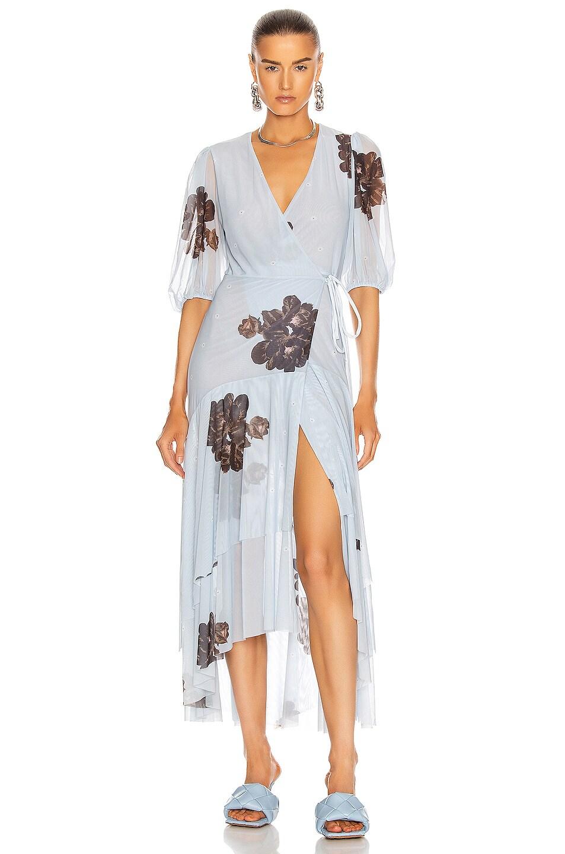 Image 1 of Ganni Printed Mesh Dress in Heather