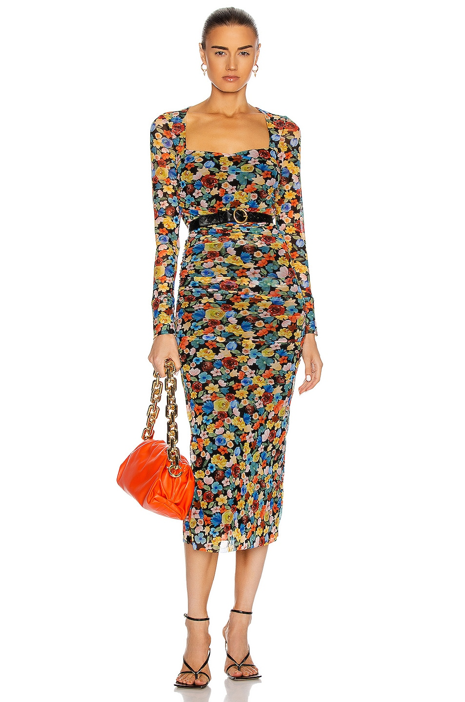 Image 1 of Ganni Printed Mesh Dress in Multicolour