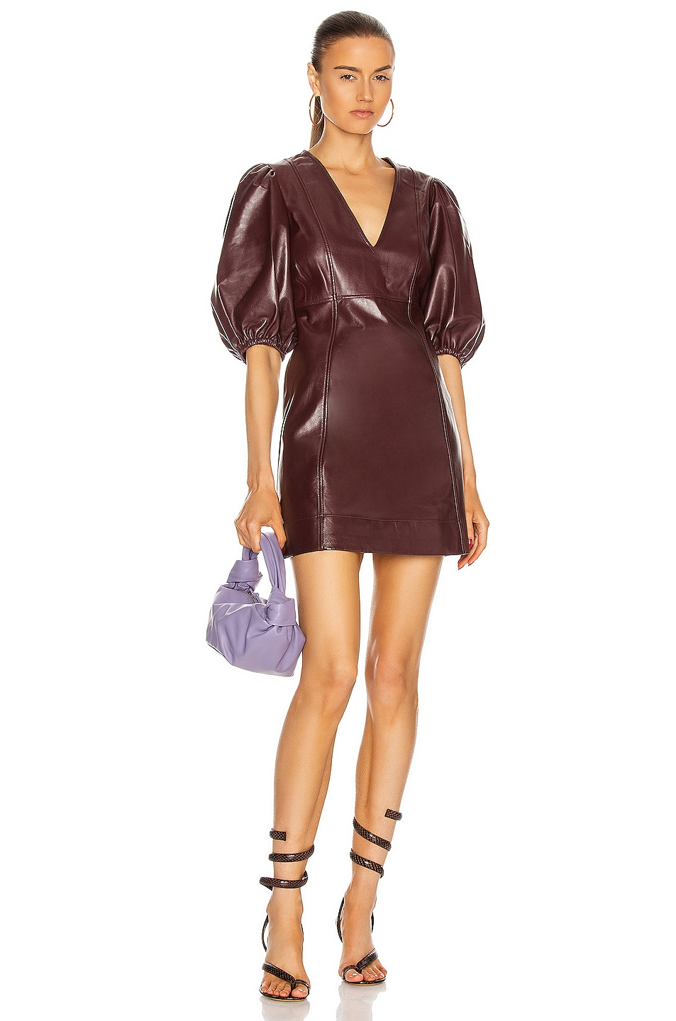 Image 1 of Ganni Lamb Leather Dress in Port Royale