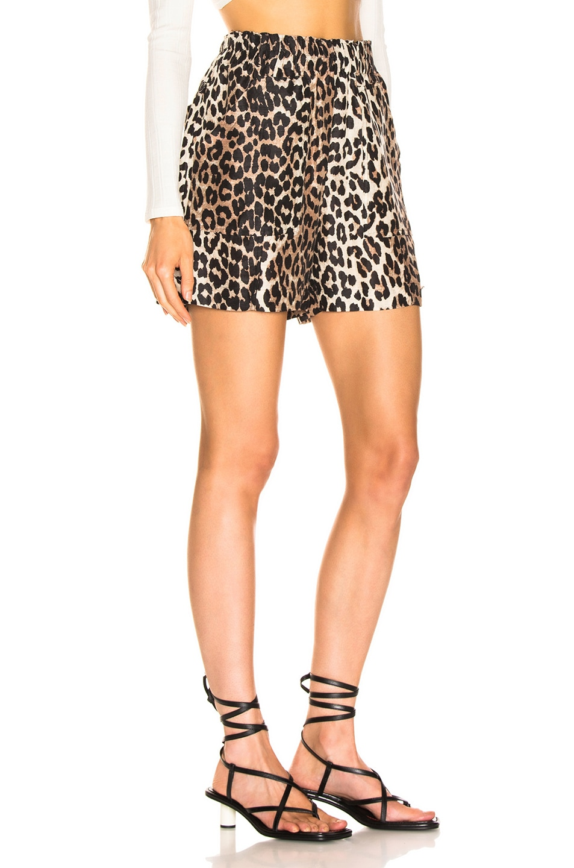 Image 2 of Ganni Silk Linen Short in Leopard