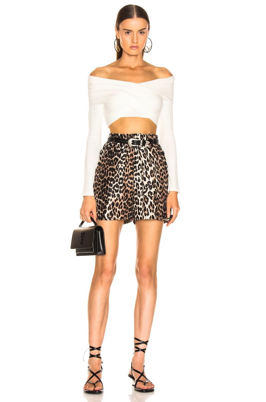 Image 4 of Ganni Silk Linen Short in Leopard