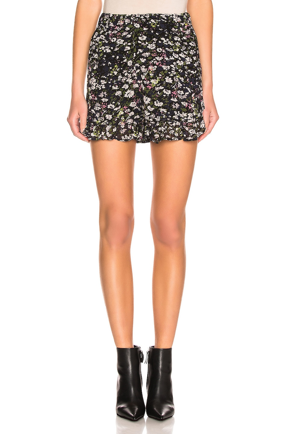 Image 1 of Ganni Printed Georgette Shorts in Black