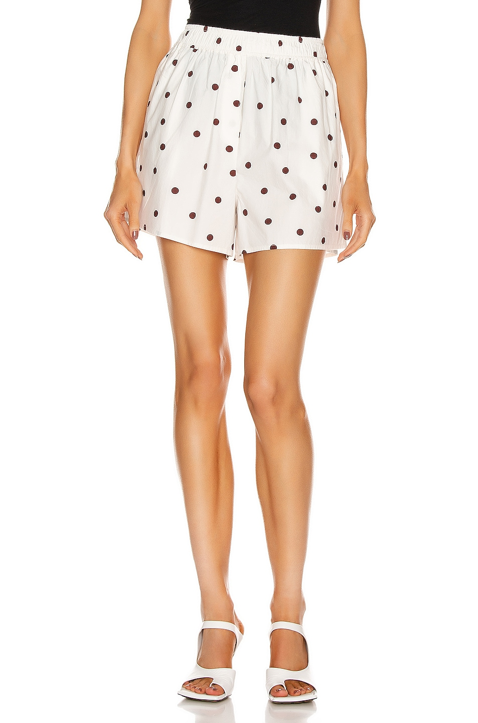 Image 1 of Ganni Printed Cotton Poplin Shorts in Egret