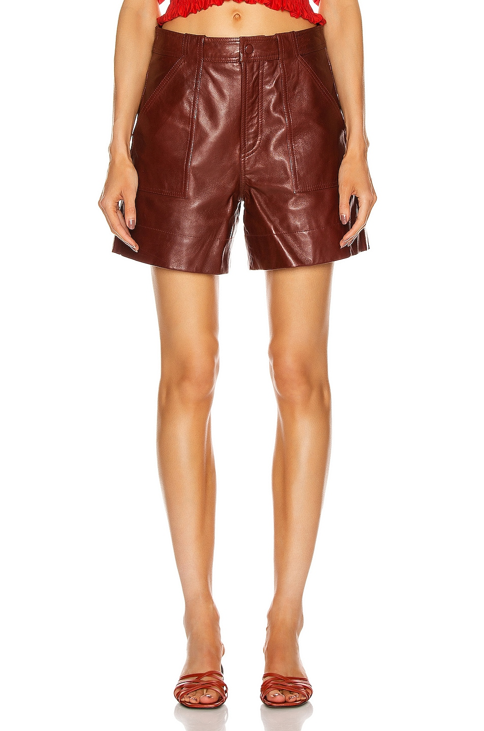 Image 1 of Ganni Lamb Leather Shorts in Decadent Chocolate
