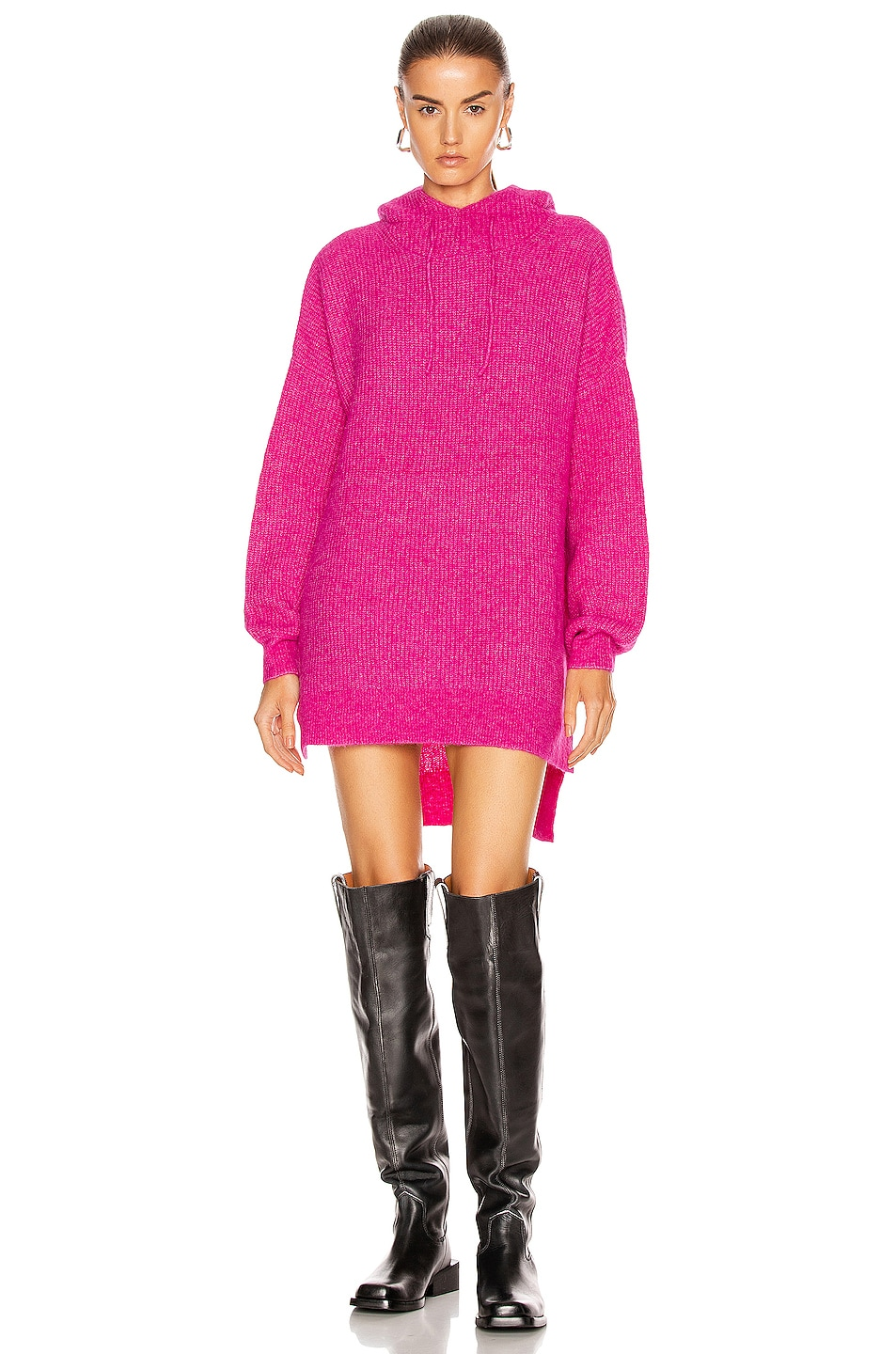 Image 1 of Ganni Soft Wool Knit Sweater in Fuchsia Red