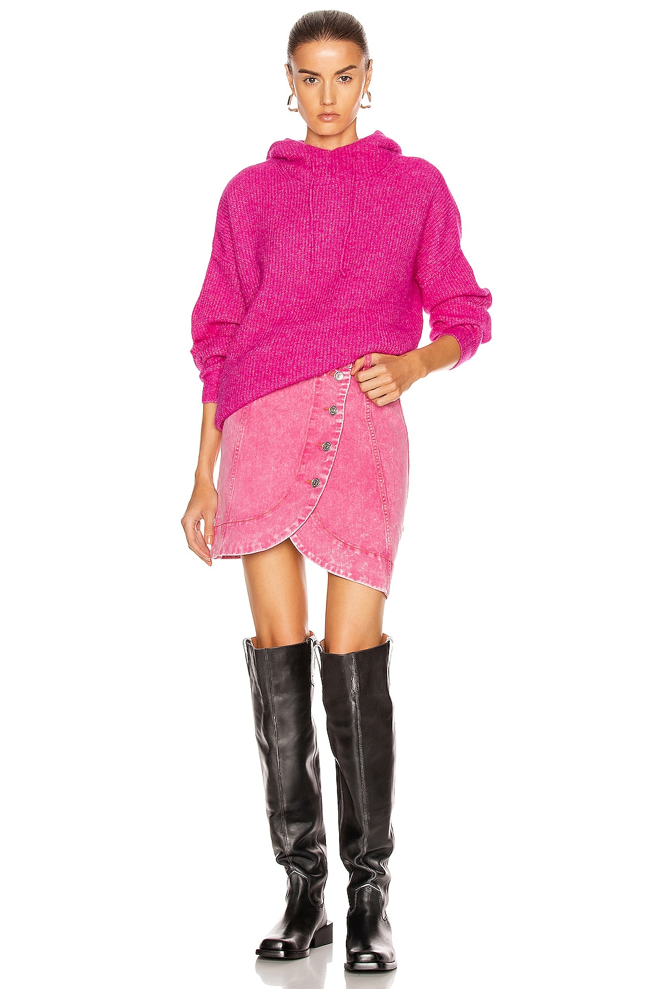 Image 2 of Ganni Soft Wool Knit Sweater in Fuchsia Red