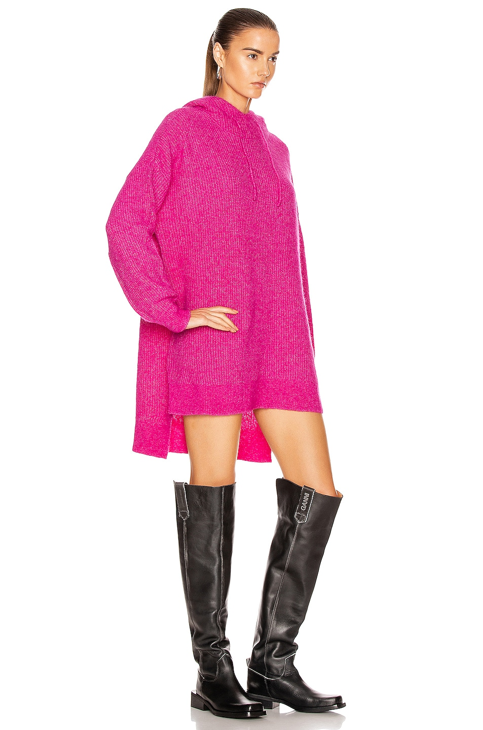 Image 3 of Ganni Soft Wool Knit Sweater in Fuchsia Red