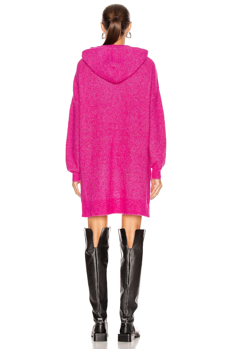 Image 4 of Ganni Soft Wool Knit Sweater in Fuchsia Red