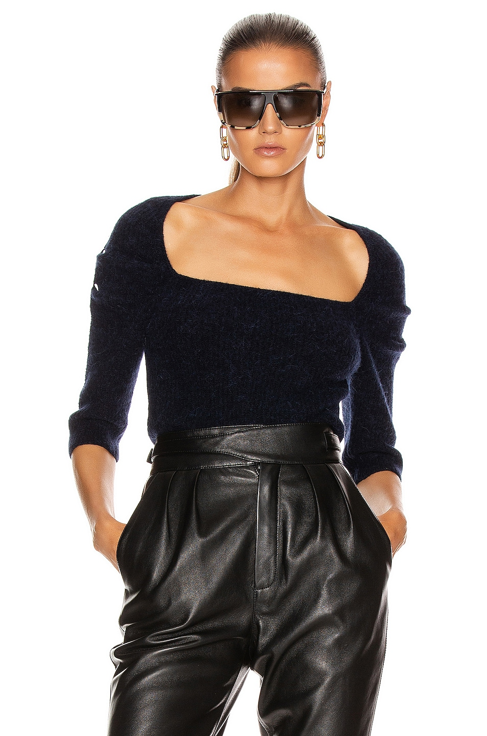 Image 1 of Ganni Soft Wool Knit Top in Sky Captain