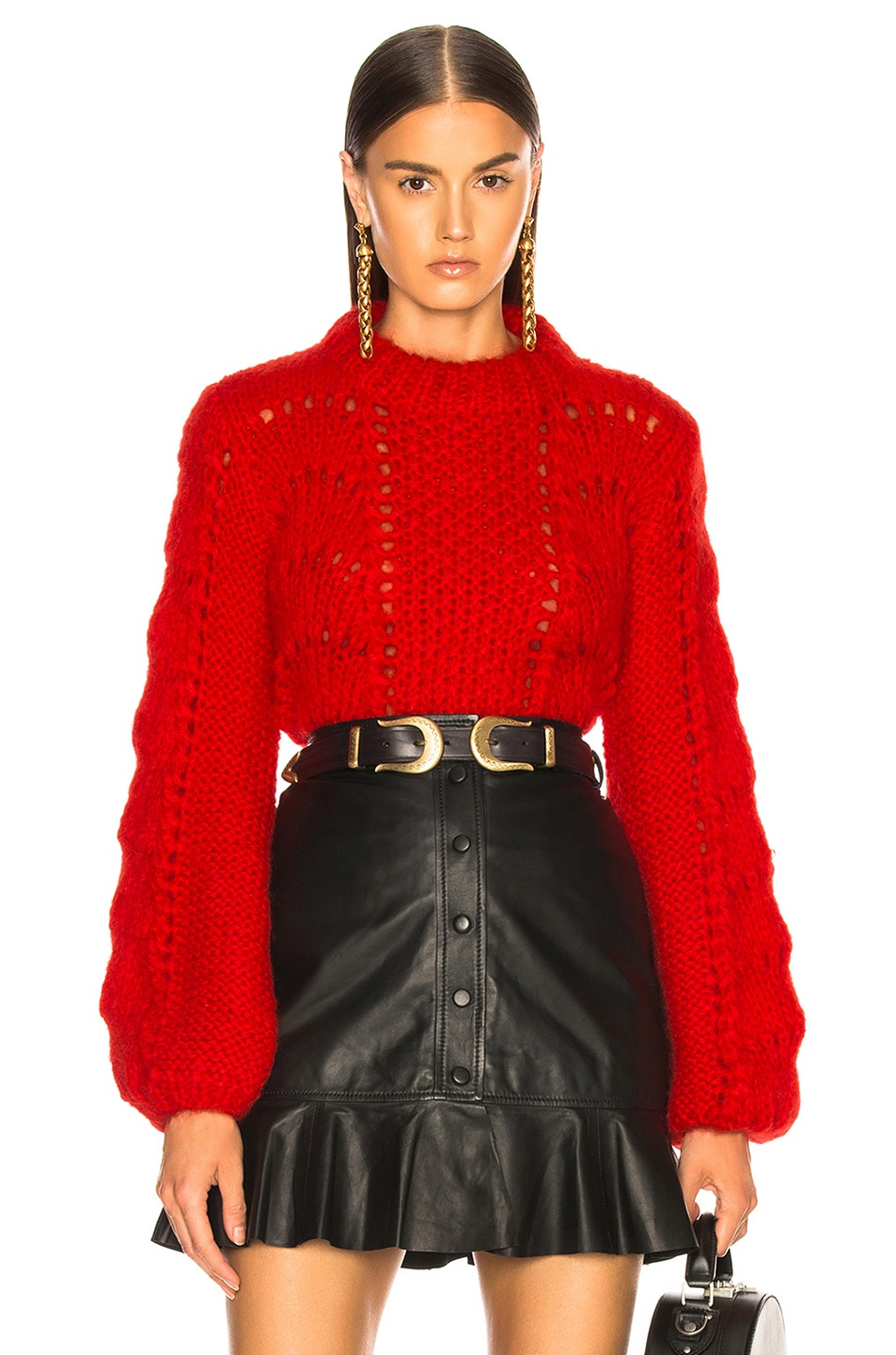 Image 1 of Ganni Julliard Mohair Sweater in Fiery Red