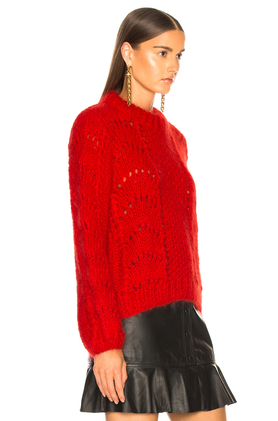 Image 3 of Ganni Julliard Mohair Sweater in Fiery Red