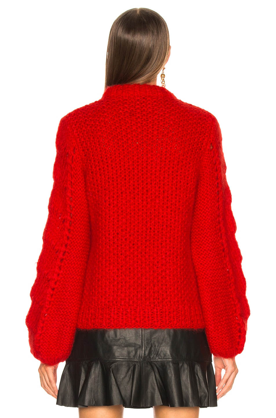 Image 4 of Ganni Julliard Mohair Sweater in Fiery Red
