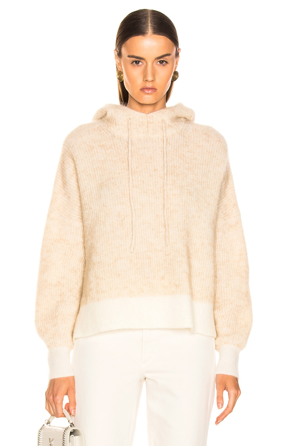 Image 1 of Ganni Soft Wool Knit Hoodie in Tapioca