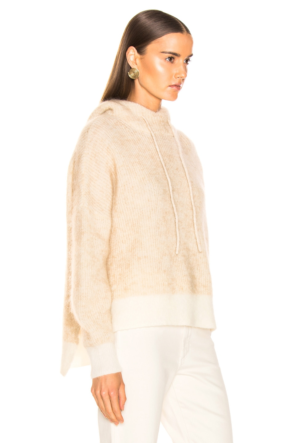 Image 2 of Ganni Soft Wool Knit Hoodie in Tapioca