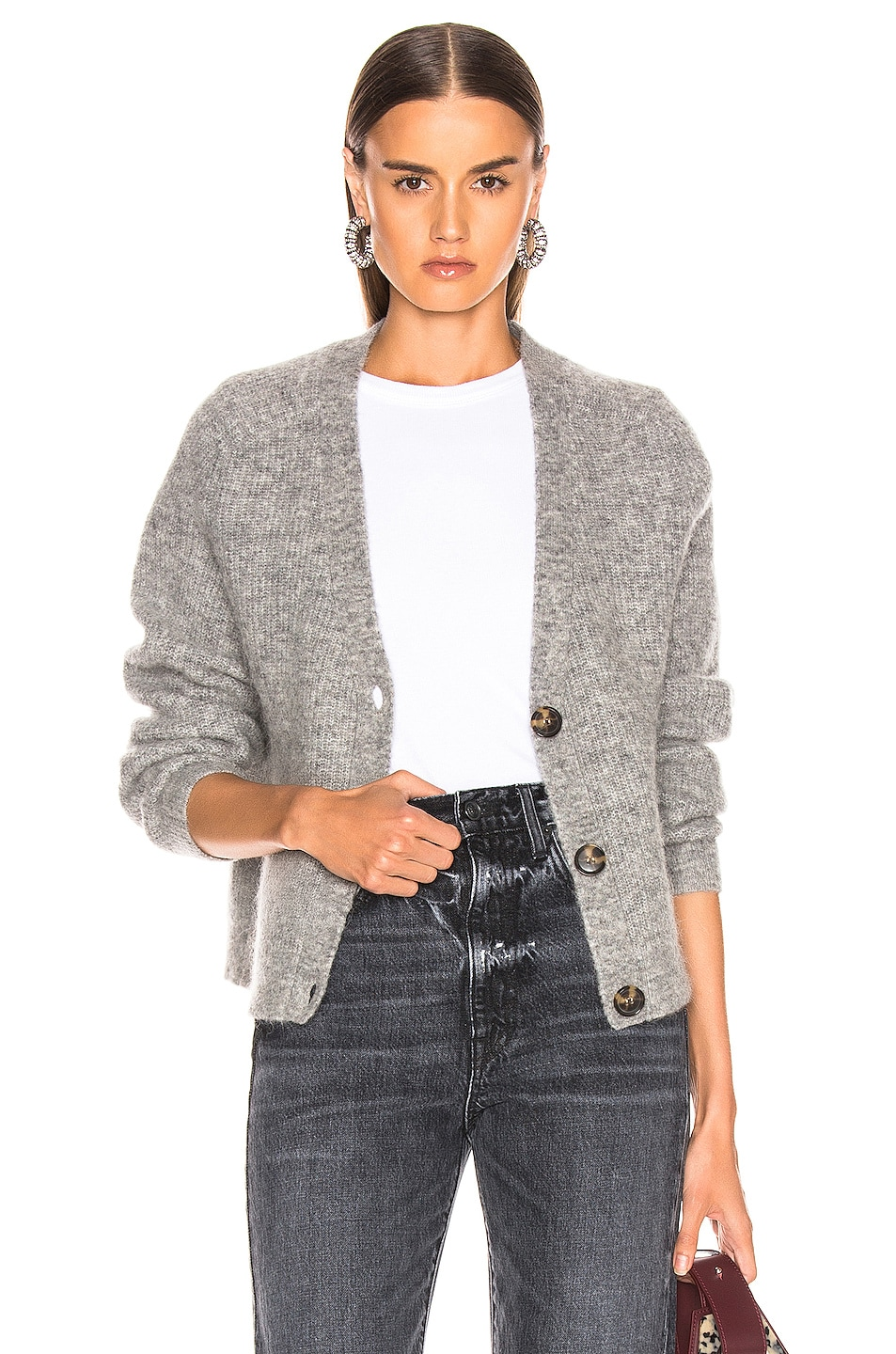 Image 1 of Ganni Soft Wool Knit Cardigan in Paloma Melange