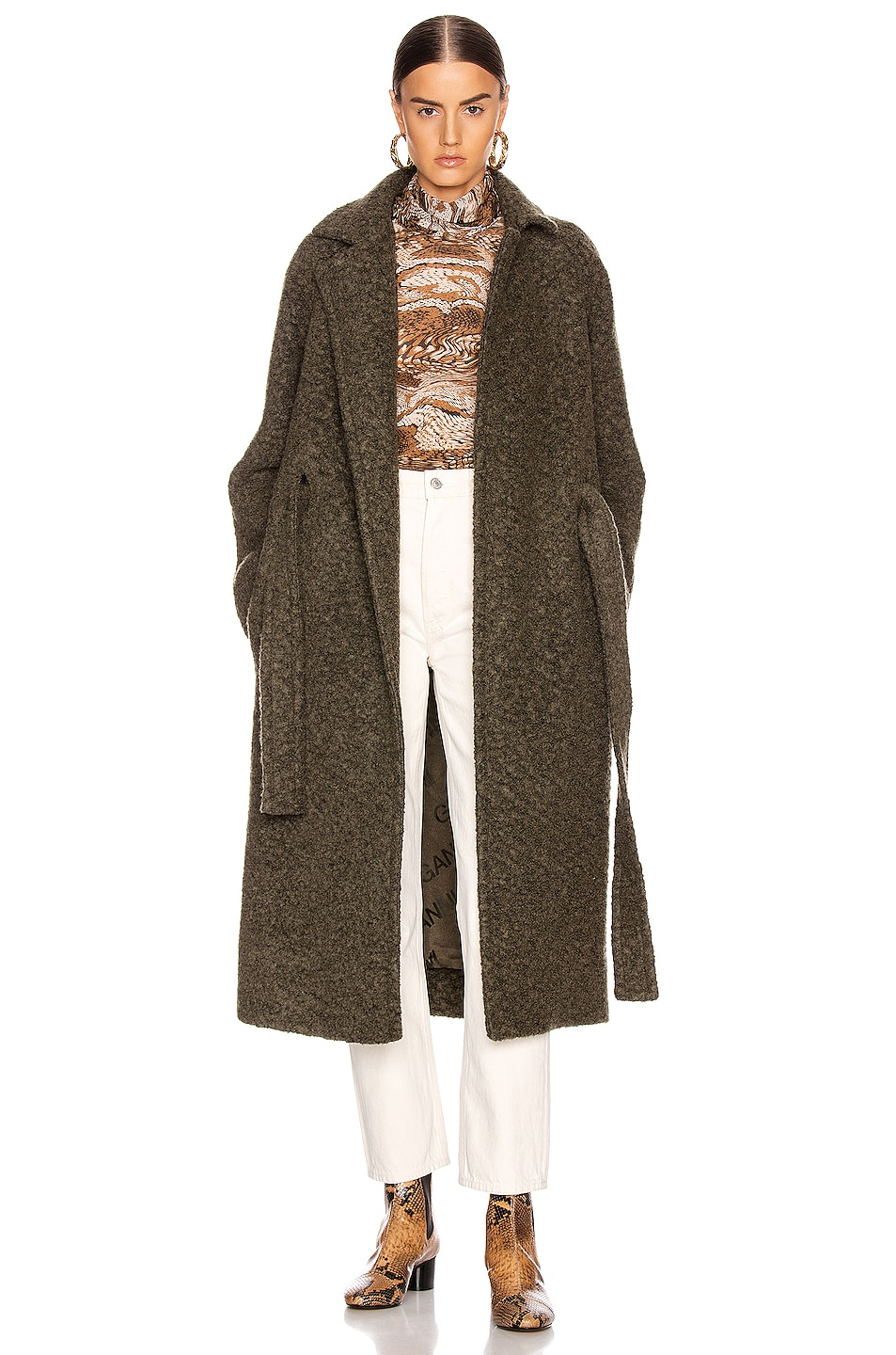 Image 1 of Ganni Boucle Wool Coat in Kalamata