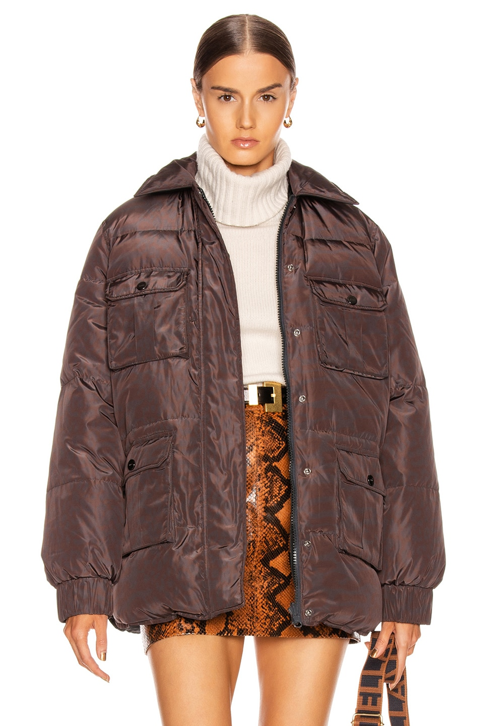 Image 1 of Ganni Printed Puffer in Phantom Leopard