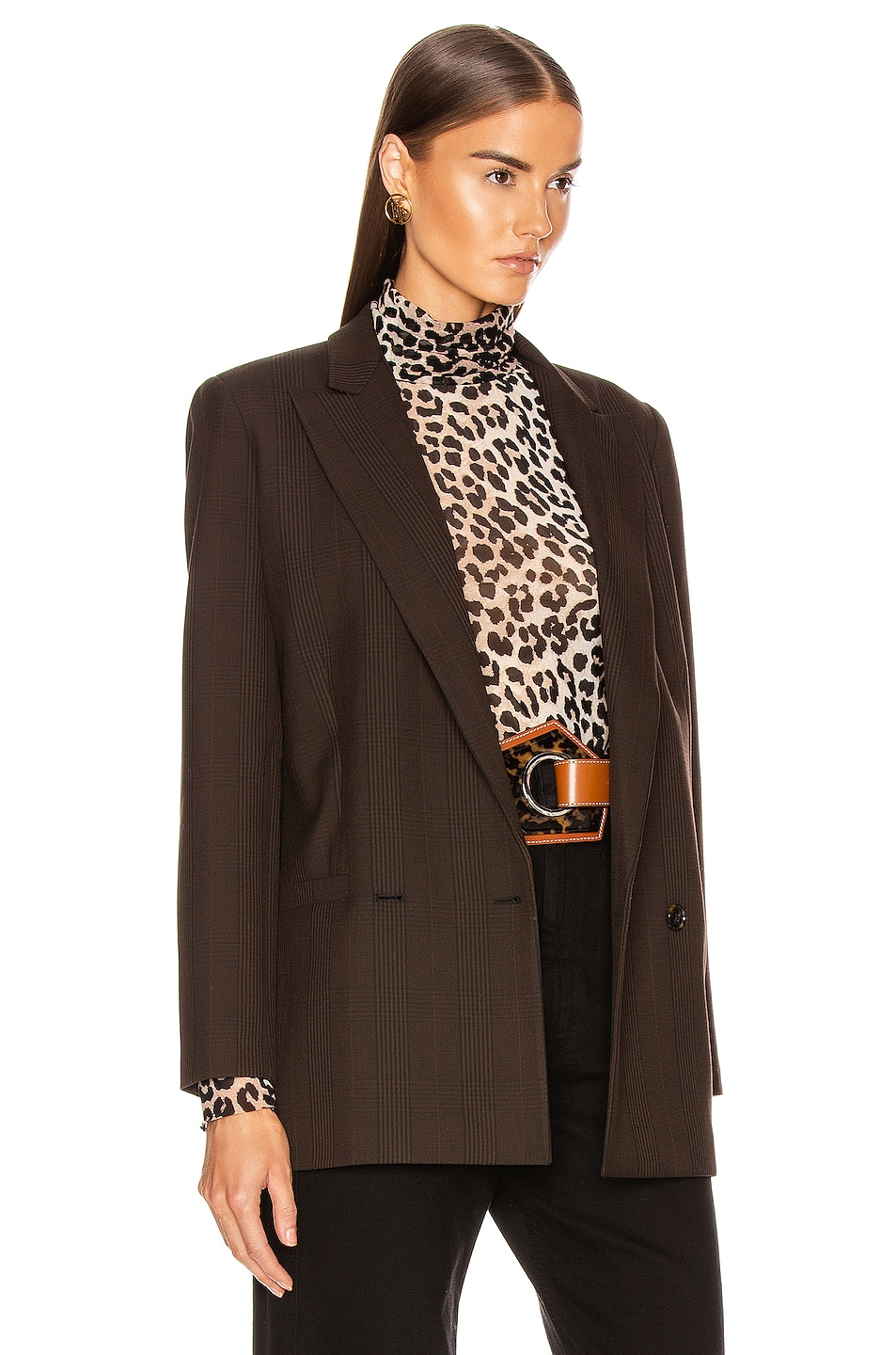 Image 3 of Ganni Suiting Blazer in Mole