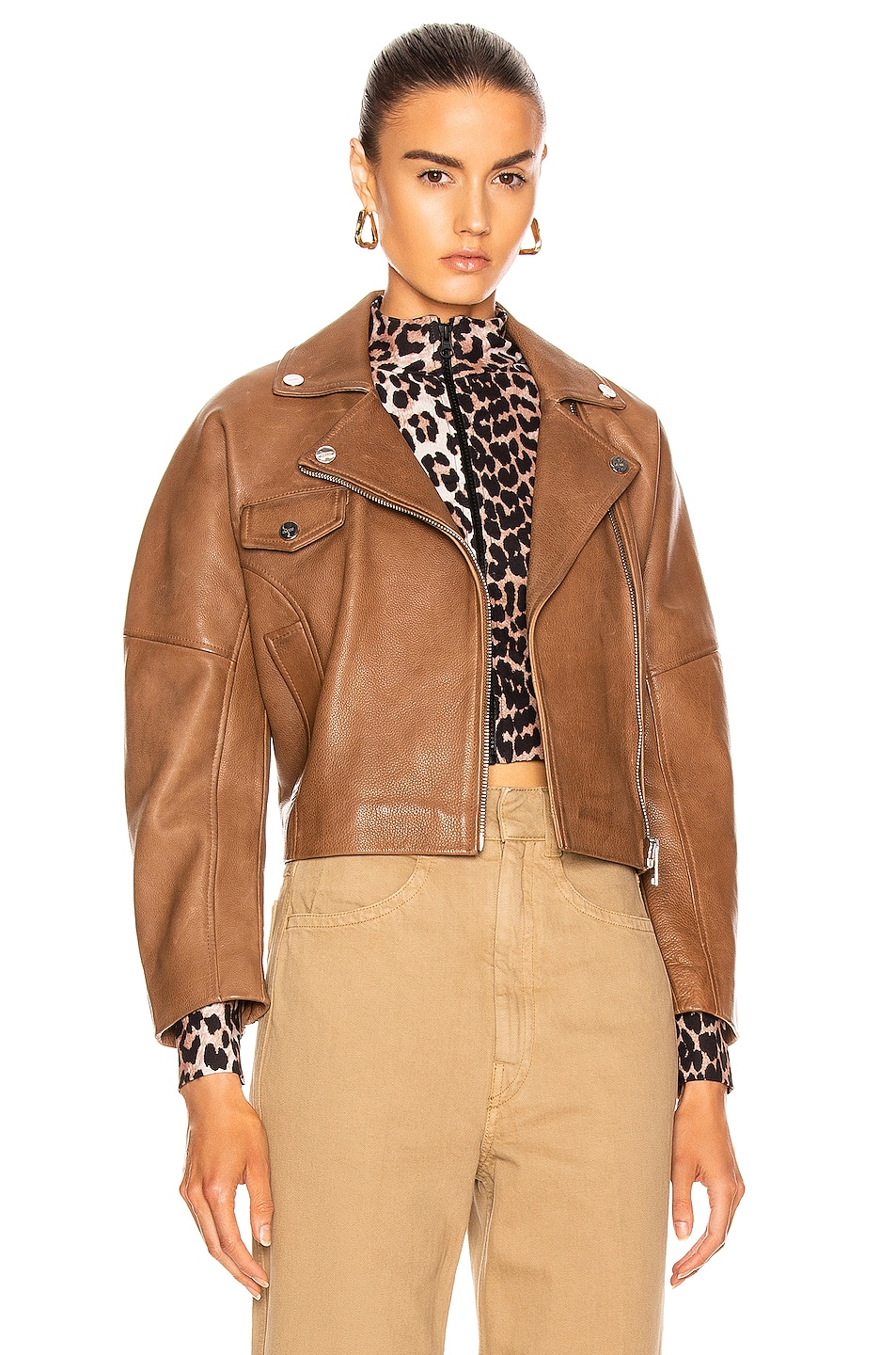 Image 1 of Ganni Grain Leather Jacket in Tannin