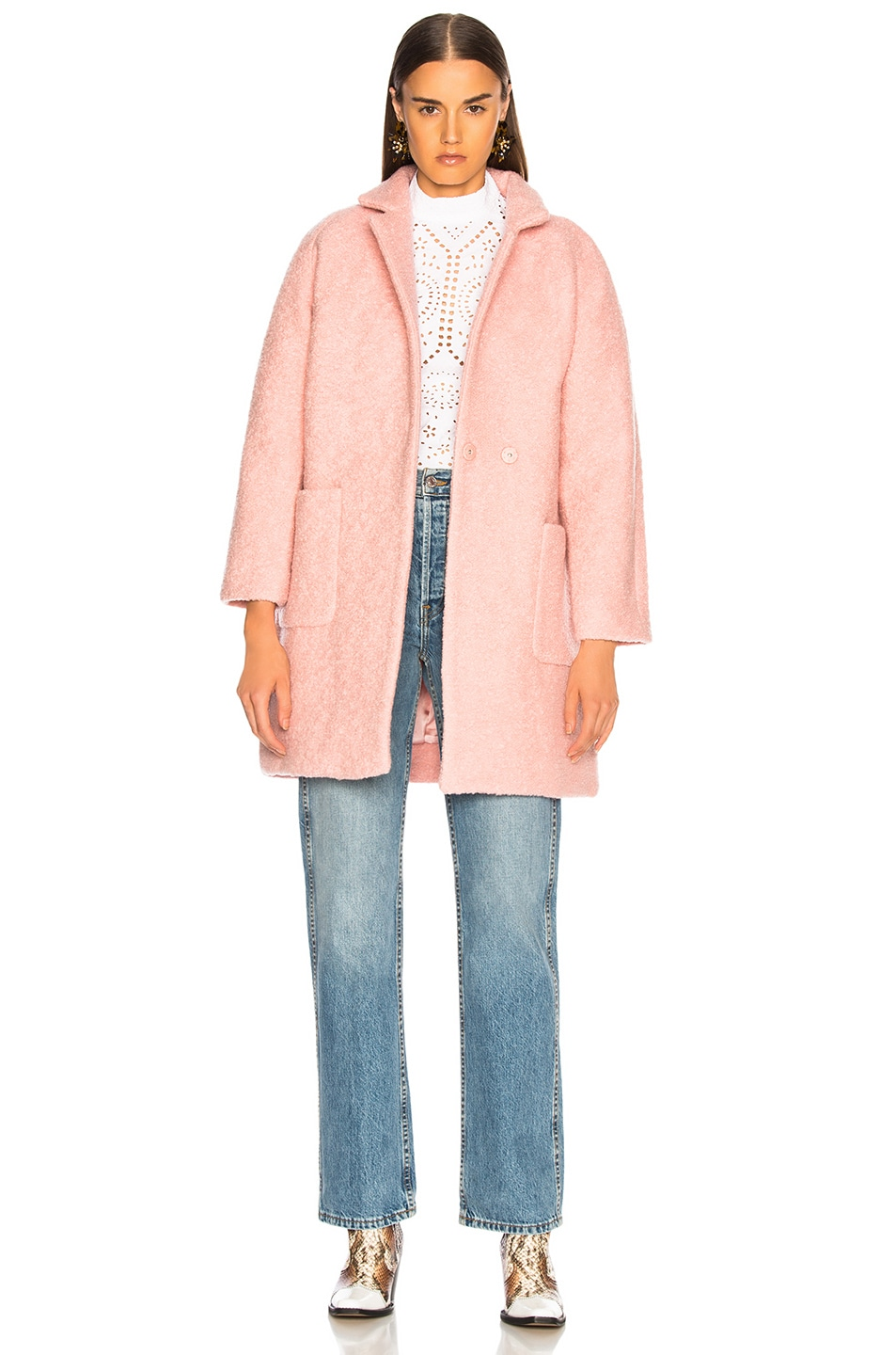 Image 1 of Ganni Boucle Wool Coat in Silver Pink