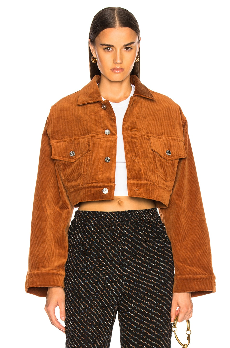 Image 1 of Ganni Stretch Corduroy Jacket in Caramel Cafe