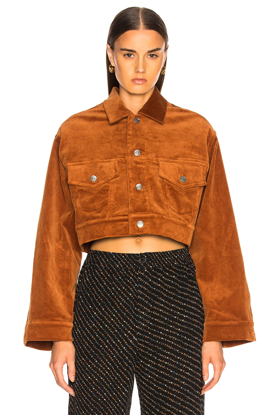 Image 2 of Ganni Stretch Corduroy Jacket in Caramel Cafe