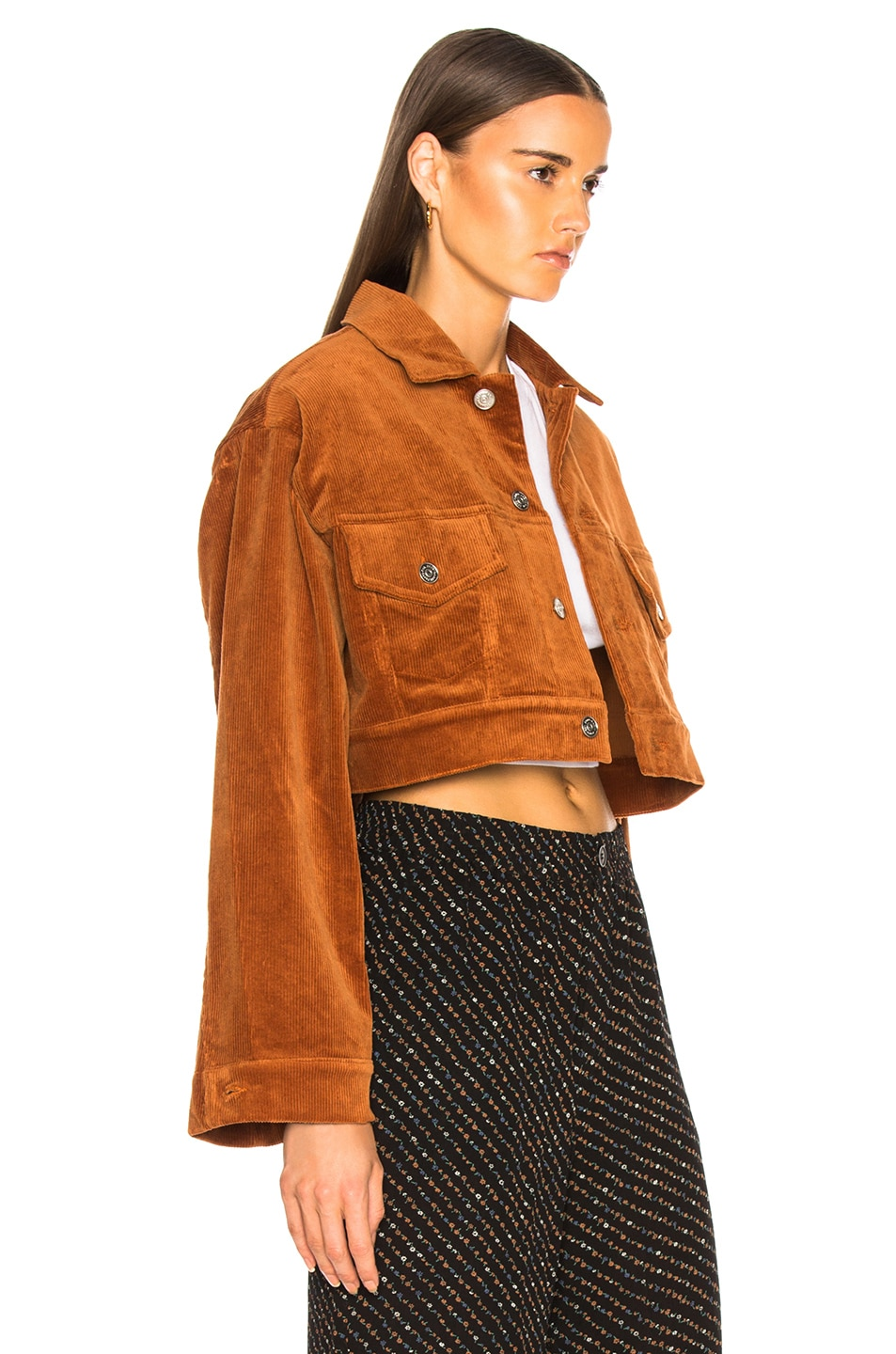 Image 3 of Ganni Stretch Corduroy Jacket in Caramel Cafe