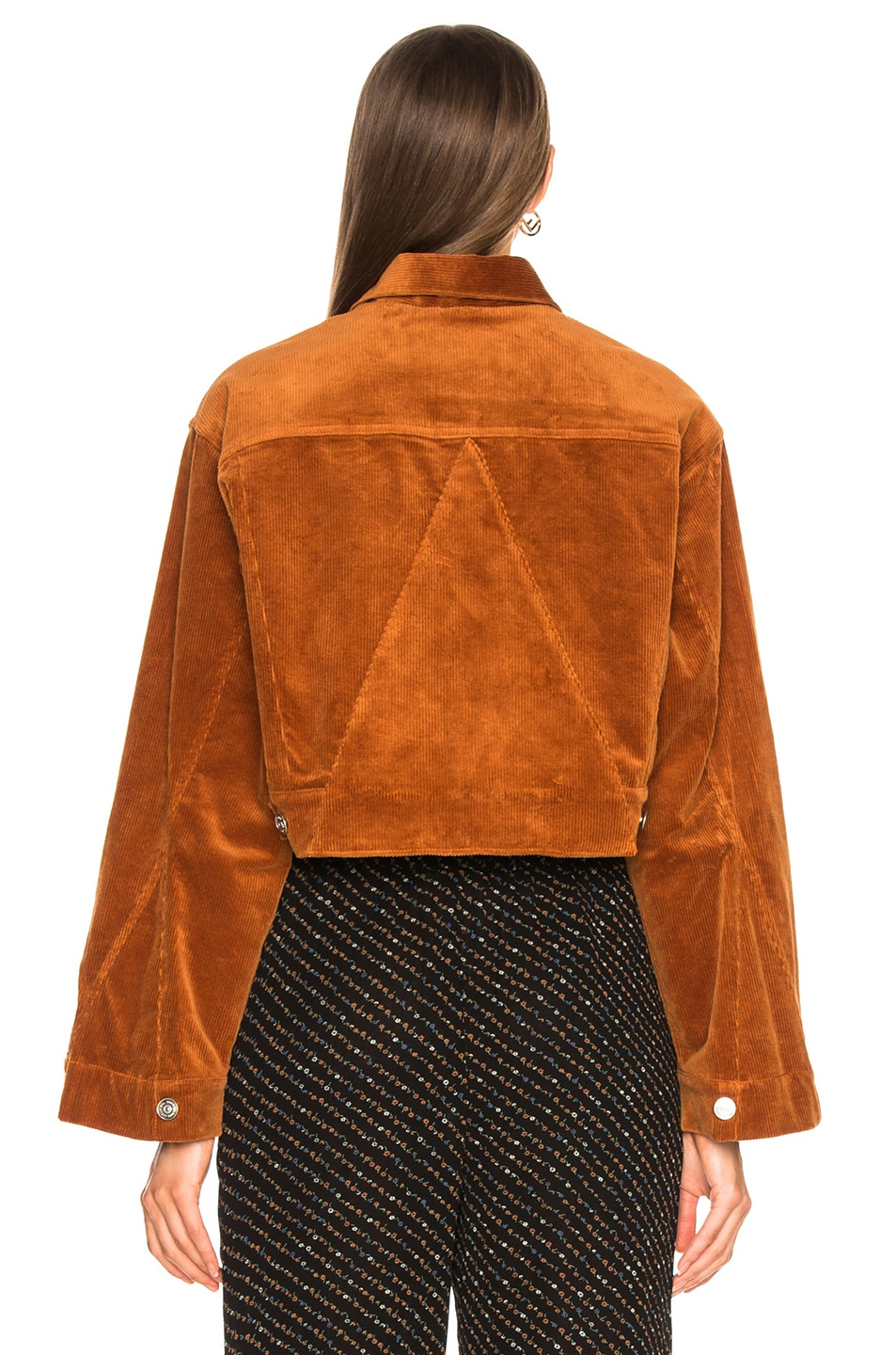 Image 4 of Ganni Stretch Corduroy Jacket in Caramel Cafe