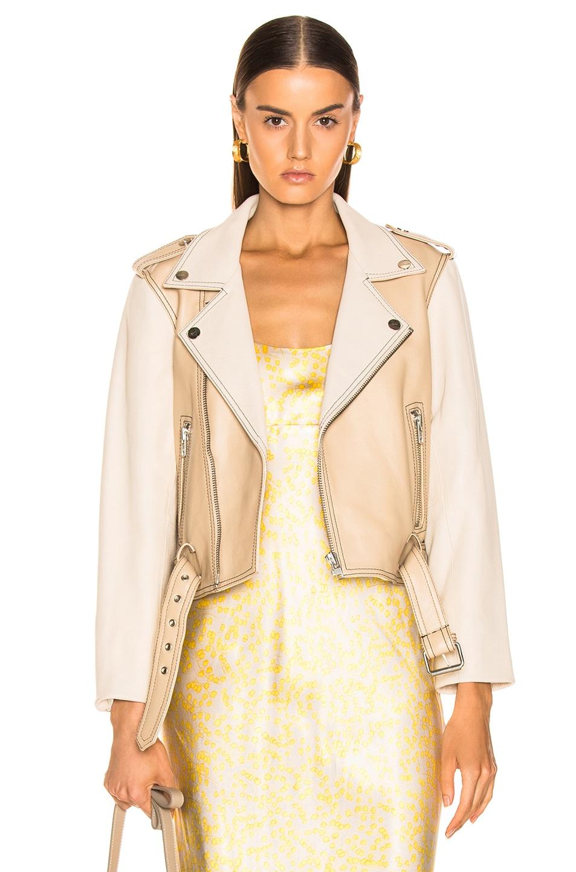 Image 1 of Ganni Angela Leather Jacket in Irish Cream