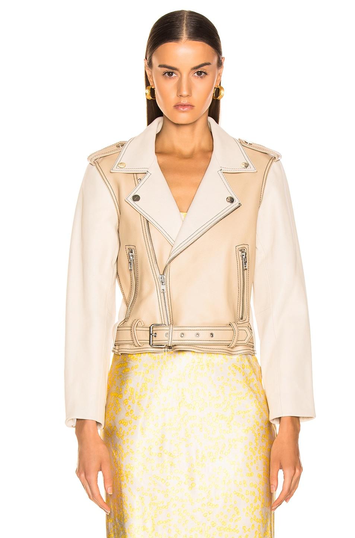 Image 2 of Ganni Angela Leather Jacket in Irish Cream