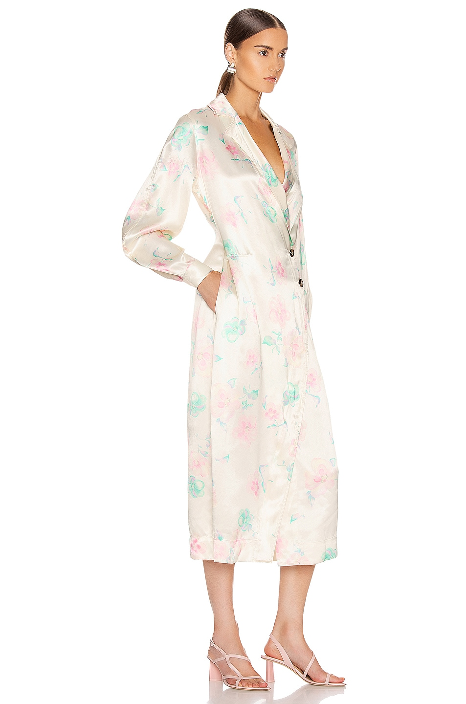 Image 3 of Ganni Heavy Satin Jacket in Afterglow