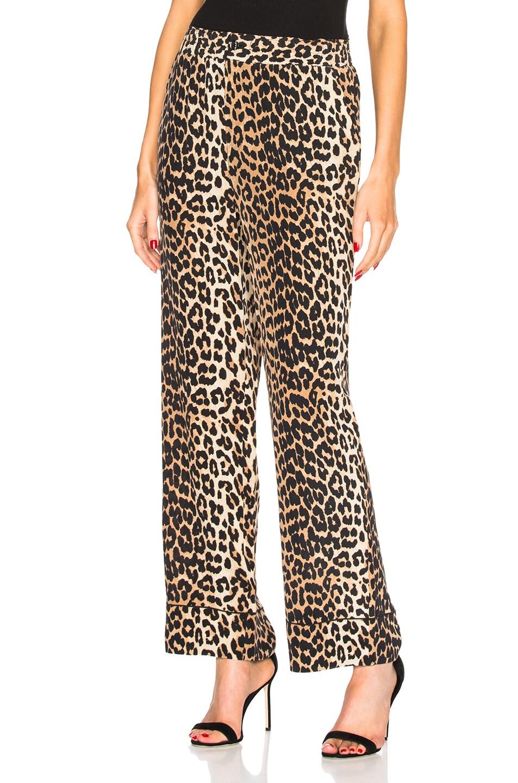 7df8380789b4 Image 1 of Ganni Fayette Silk Pants in Leopard