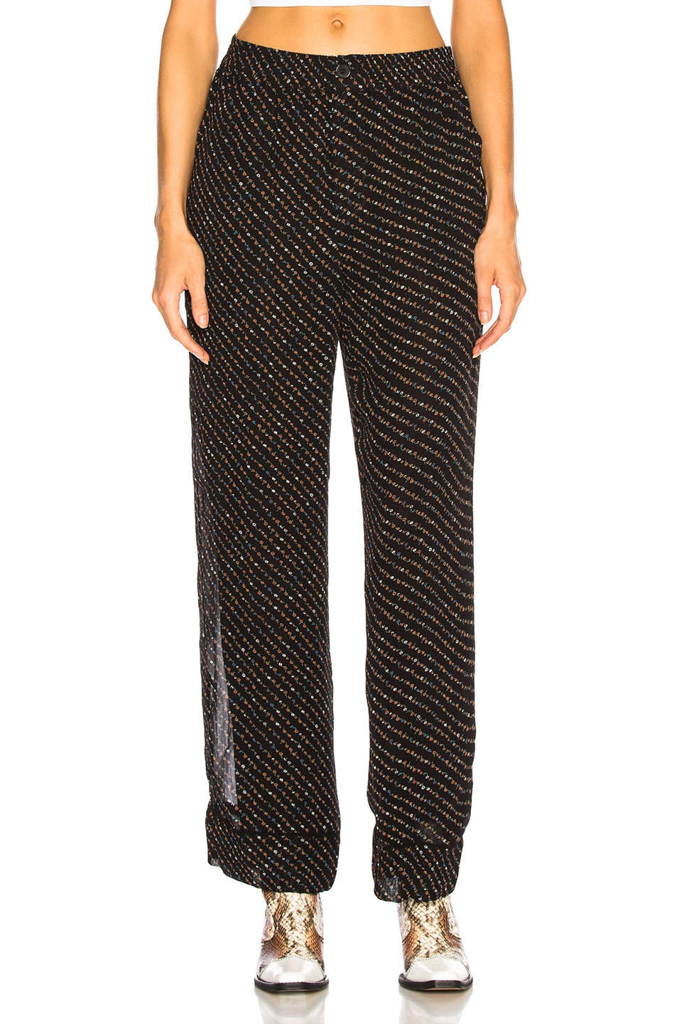 Image 1 of Ganni Printed Georgette Pants in Black