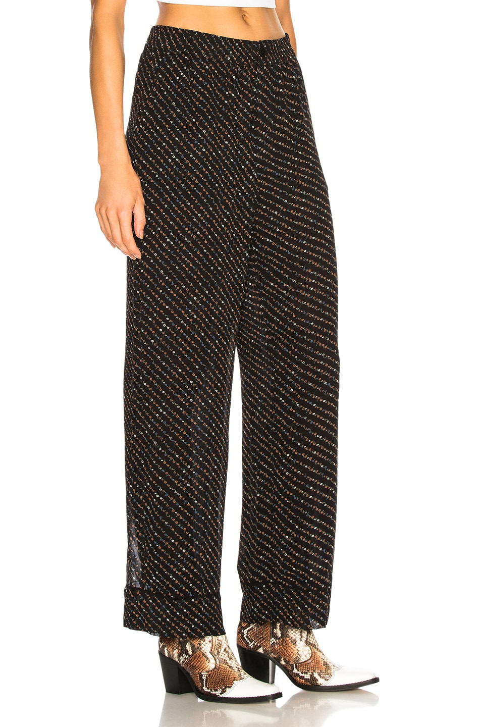 Image 2 of Ganni Printed Georgette Pants in Black