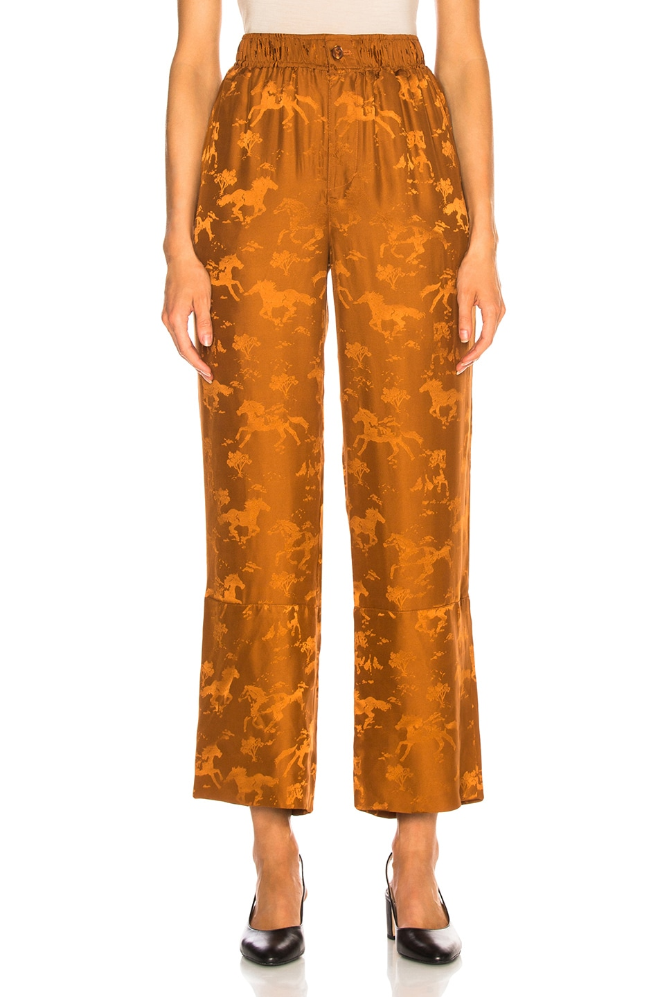 Image 1 of Ganni Silk Jacquard Pants in Caramel Cafe