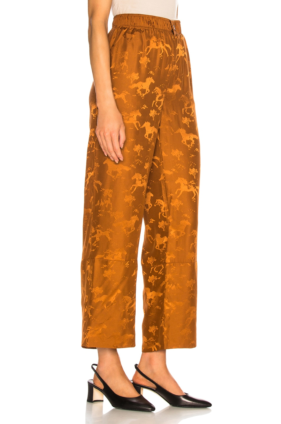 Image 2 of Ganni Silk Jacquard Pants in Caramel Cafe
