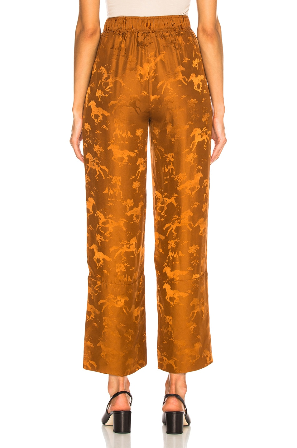 Image 3 of Ganni Silk Jacquard Pants in Caramel Cafe