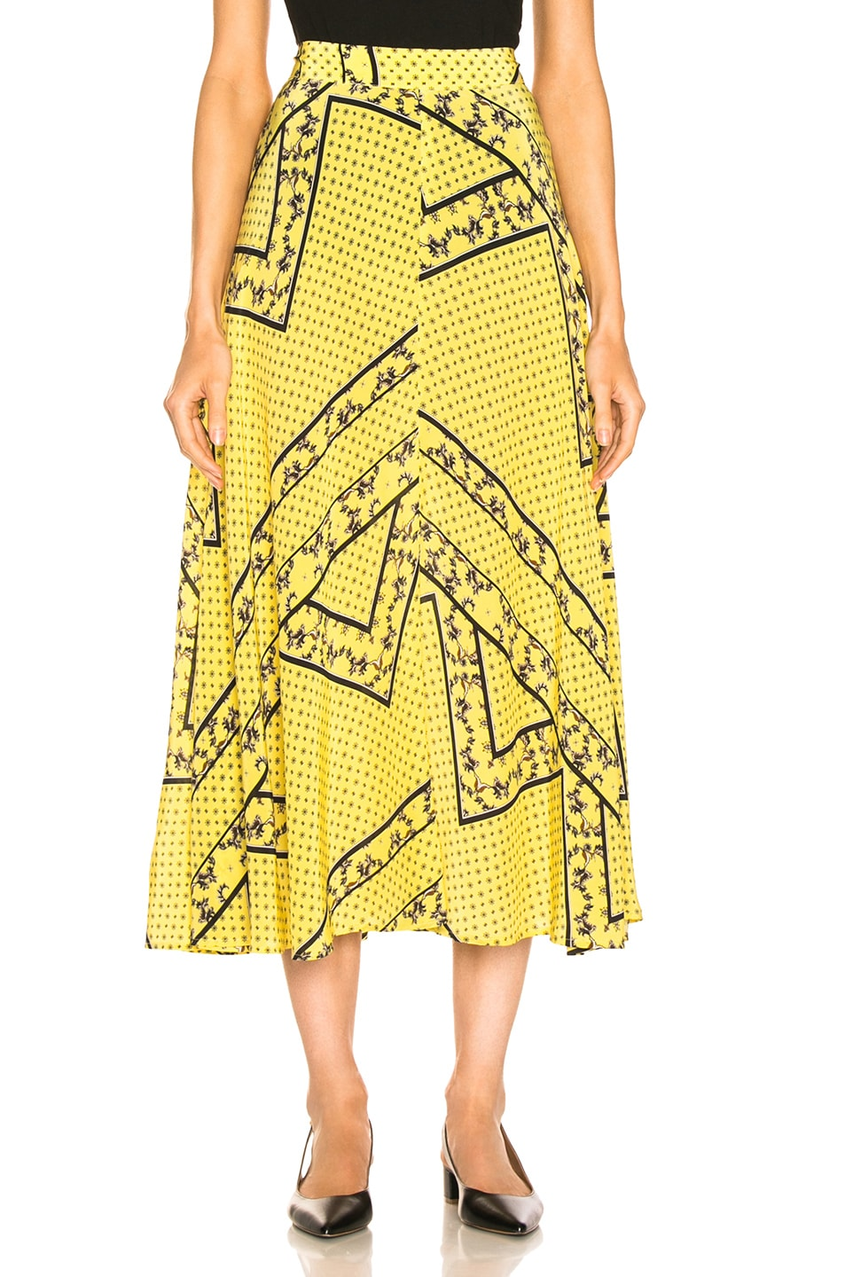 Image 1 of Ganni Silk Mix Skirt in Minion Yellow